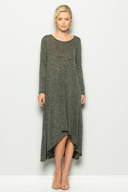 Solid Loose Fit Hem Dress - orangeshine.com