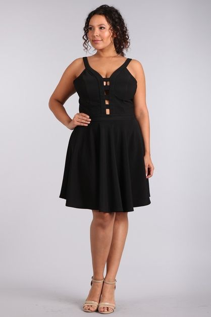 FIT AND FLARE BAR BLACK DRESS - orangeshine.com