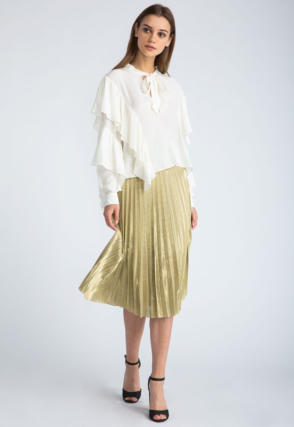 sans souci wholesale pleated shimmer midi skirt