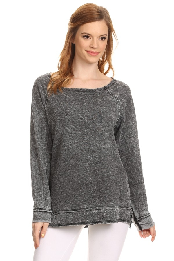 RAW EDGE BURNOUT SWEATER - orangeshine.com