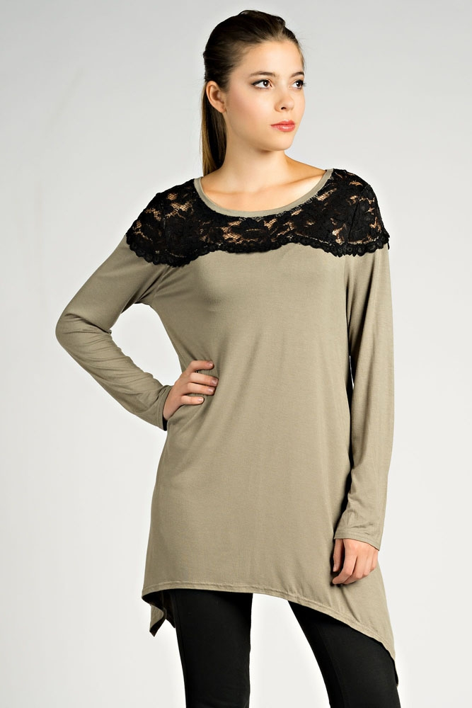 TUNIC W/ SHOULDER LACE DETAIL - orangeshine.com