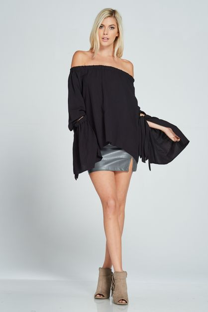 OFF-THE-SHOULDER SELF-TIE SLEEVE TOP - orangeshine.com
