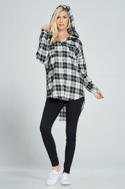HOODIE BUFFALO PLAID SHIRTDRESS - orangeshine.com