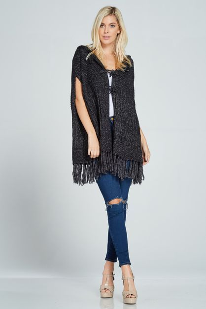 HOODED FRINGED PONCHO SWEATER - orangeshine.com