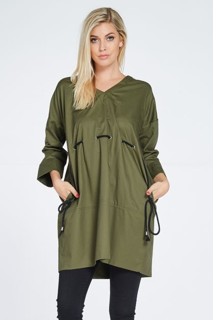 STRING TRIM V-NECK SHIRT DRESS - orangeshine.com