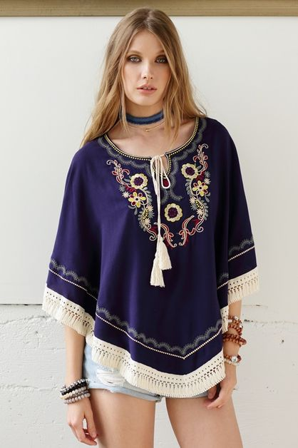 FLOWER EMBROIDERED COVER UP/PONCHO - orangeshine.com
