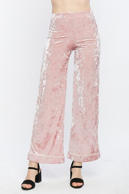 Crushed Velvet Flared Pants - orangeshine.com