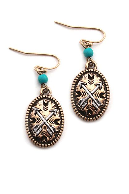CROSSED ARROW COIN HOOK EARRINGS - orangeshine.com