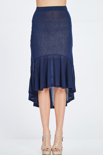 HIGH AND LOW FRILL BOTTOM SKIRT - orangeshine.com