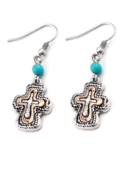 CROSS HOOK EARRINGS                  - orangeshine.com