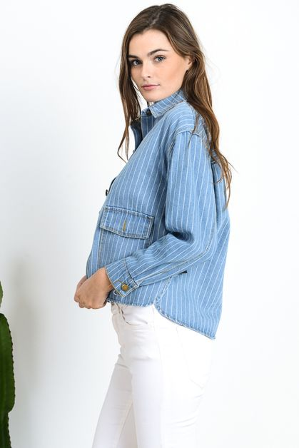 STRIPED DENIM SHIRTS JACKET - orangeshine.com