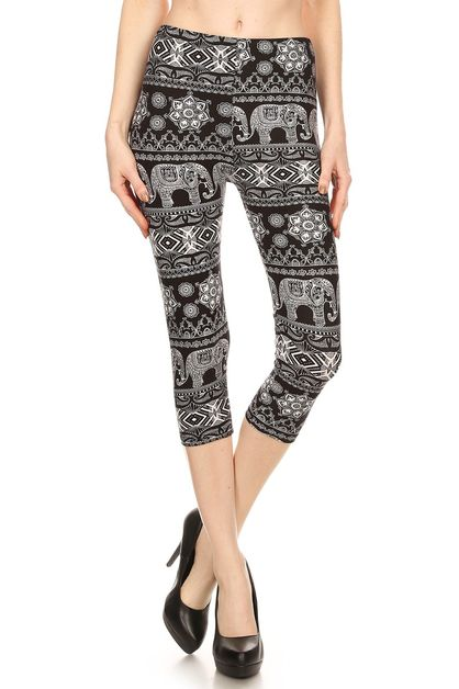 ELEPHANT PRINTED CROPPED LEGGINGS - orangeshine.com