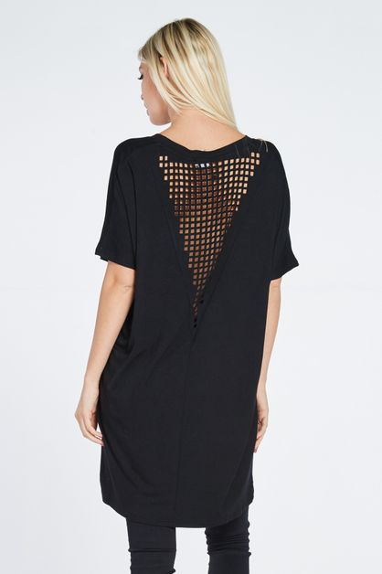 LASER CUT OUT BACK TUNIC DRESS - orangeshine.com