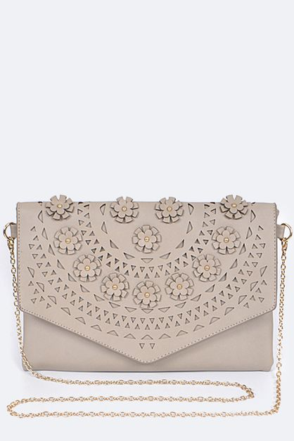 Flower and Laser Cut Envelope Clutch - orangeshine.com