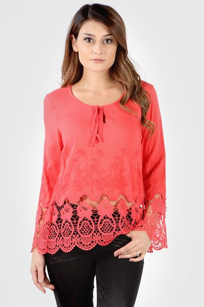 FLORAL EMBROIDERED CROCHET TUNIC - orangeshine.com