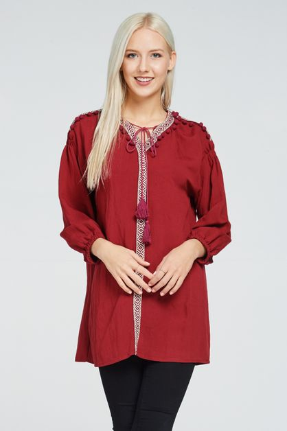 TASSEL RIBBON TIE NECK BLOUSE - orangeshine.com