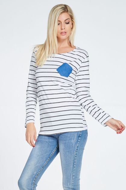 POCKET POINT STRIPE TEE - orangeshine.com