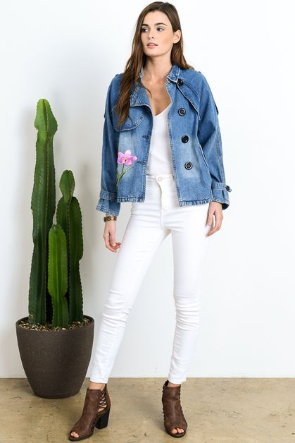DENIM TRENCH HALF JACKET - orangeshine.com