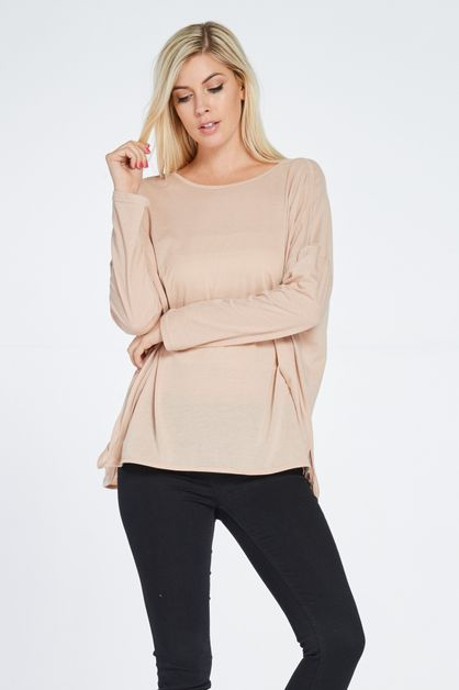 DOLMAN ROUND NECK BASIC TOP - orangeshine.com