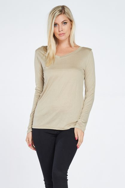 V-NECK BASIC LONG SLEEVE TOP - orangeshine.com