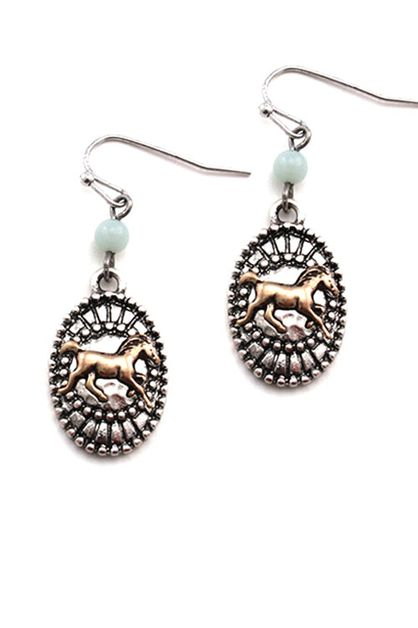 MINI HORSE STUDDED COIN HOOK EARRING - orangeshine.com