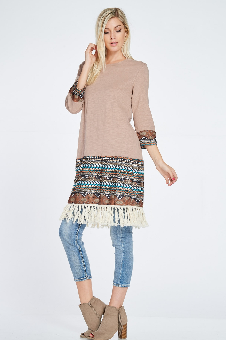 AZTEC PRINT FRINGE BOTTOM DRESS - orangeshine.com