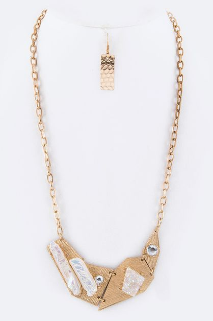 Druzy Collar Necklace Set - orangeshine.com