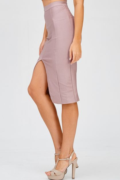 BANDAGE BODYCON V SLIT SKIRT - orangeshine.com