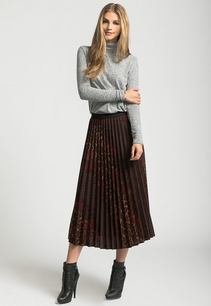 FLOWER LEOPARD PLEATED SKIRT - orangeshine.com
