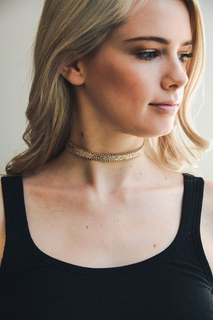 Gold Strap Choker Necklace - orangeshine.com