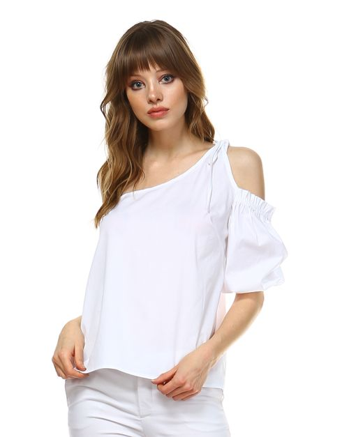 SOLID POPLIN ONE SHOULDER TOP - orangeshine.com
