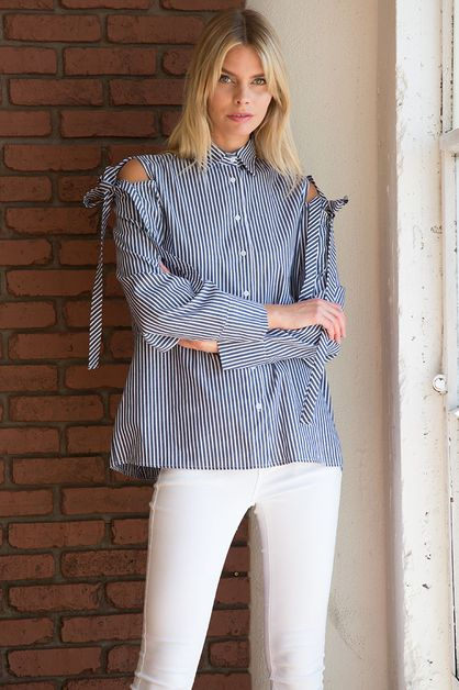 STRIPED COTTON SHIRT - orangeshine.com