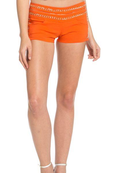 CHAIN DETAIL SHORTS - orangeshine.com
