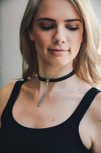 Faux Leather Tassel Chain Choker - orangeshine.com