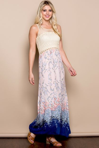 Boho Crochet Maxi Dress - orangeshine.com