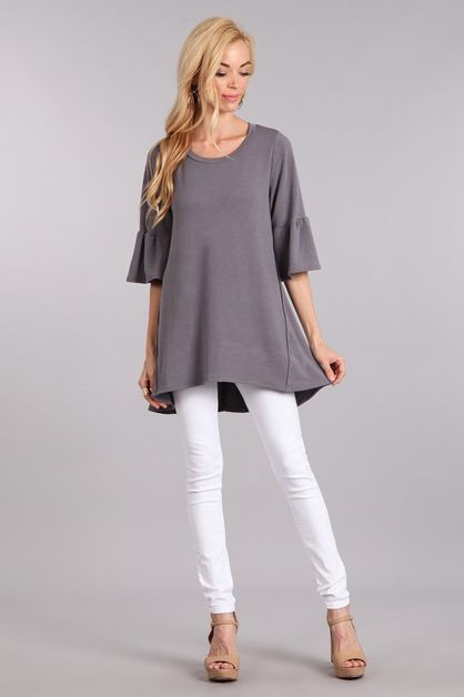 Solid knit bell sleeves - orangeshine.com