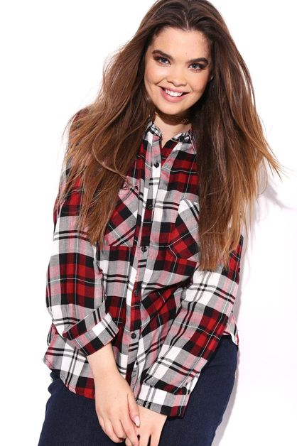 ROLLED UP PLAID PRINT TOP - orangeshine.com