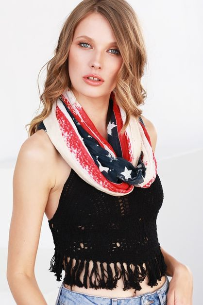 WASHED OUT AMERICAN FLAG  SCARF  - orangeshine.com