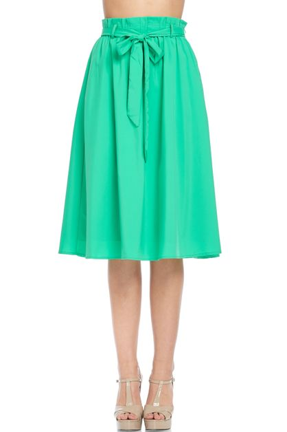 Green bow midi skirt - orangeshine.com