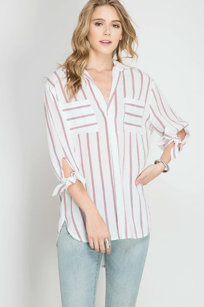 SL4451 - STRIPED SHIRT   - orangeshine.com