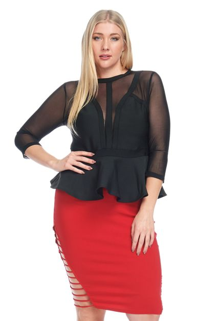 MESH BANDAGE  PEPLUM PLUS TOP - orangeshine.com
