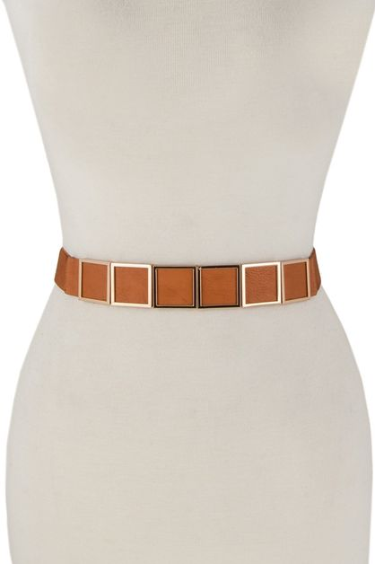 Metal squares accent elastic belt - orangeshine.com