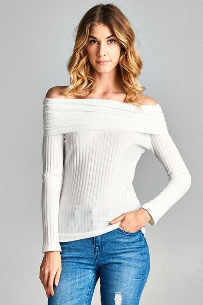Off Shoulder Rib Knit Top - orangeshine.com
