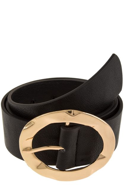 Oval metal buckle faux leather belt - orangeshine.com