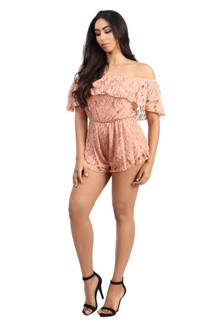 Off shoulder floral lace romper - orangeshine.com