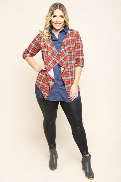 PLAID OPEN FRONT DRAPED CARDIGAN  - orangeshine.com