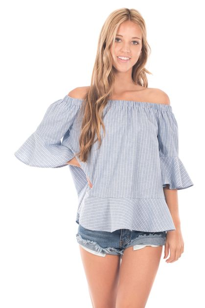 Off Shoulder Striped Bell Sleeve Top - orangeshine.com