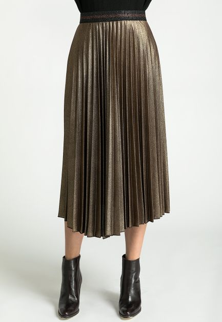 METALLIC GLITTER PLEATED MIDI SKIRT - orangeshine.com