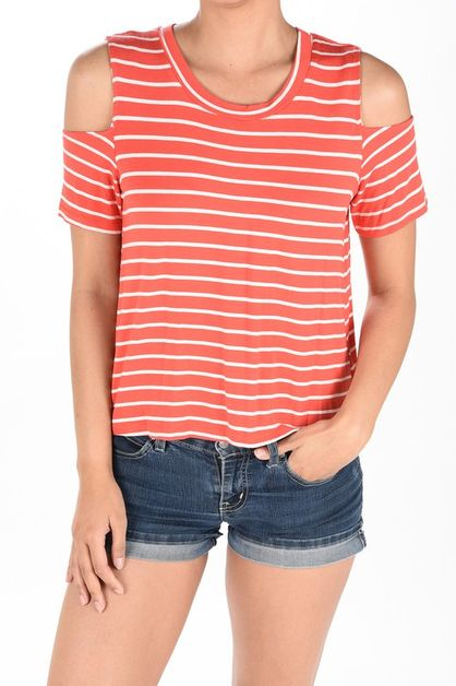 stripef short sleeve shoulder detail - orangeshine.com