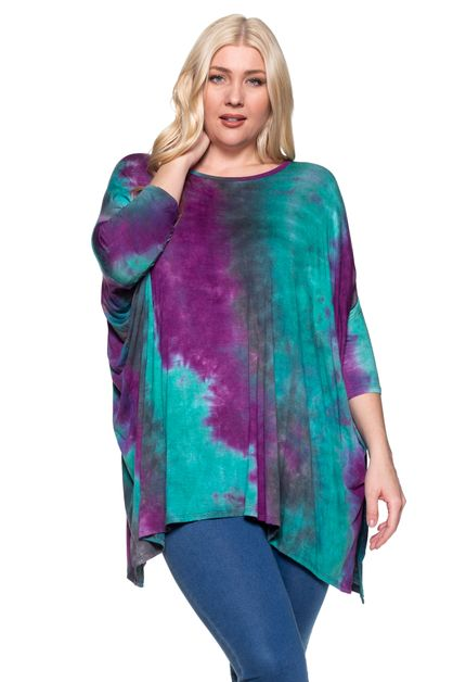 TIE DYE PRINT PONCHO TOP PLUS - orangeshine.com